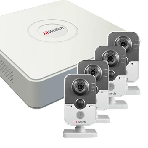 Видеонаблюдение для офиса на 4 камеры Эконом IP